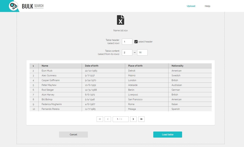 TAS Enterprise Bulk search table